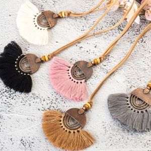 Jewelry - NWT Boho Tassel Necklace with faux Leather Chain